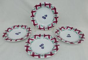 Princess House Set of 4 Orchard Medley Accent Salad/Desert Plates