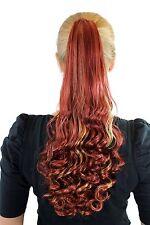 Postiche Tresse Rouge avec Mêches Blondes Long 50cm Bouclé Affiler Extension