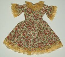 Barbie Doll Dress OOAK Home Made Cream Green Red Yellow Lace D79