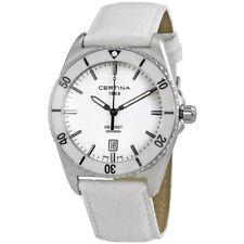 Certina DS First Ceramic  Genuine White Leather  Mens Quartz Watch