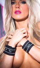 Faux Leather Zip Wrist Bands Cuffs Zipper Snap Closure Costume Accessory WC-5502