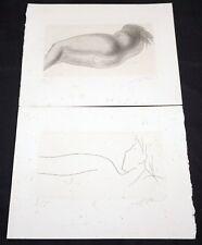 "2x 1960s Swiss Etching Prints 7/15 ""Female Nudes"" by Hans Erni (1909-2015)(Mod)"