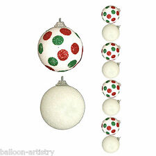 8 Christmas WHITE Glitter Sparkle Spots Hanging Baubles Tree Decorations