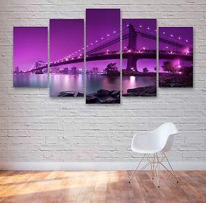 Manhattan Bridge 5 Panel Canvas, Wall Art, Picture, Painting, Print #001
