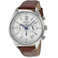 Seiko Chronograph SSB157 P1 Silver Dial Brown Leather Men's Quartz Analog Watch