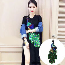 Peacock Pattern Embroidery Patch Sequin Motifs Iron On Patch Clothing Applique x