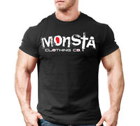 New Mens Monsta Clothing Fitness Gym T-shirt: Signature 31 WT-Red