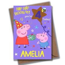 Personalised Peppa Geroge Pig Birthday Card -  Personalise NAME & AGE - UK Fast