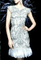 New Marchesa Couture Embroidered Feather Grey Silver Cocktail Dress IT 40 / US 4