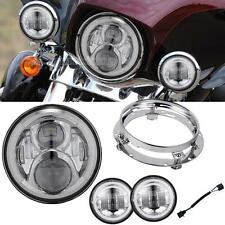"7"" Projector Headlight Passing Light Fit Harley Softail Deluxe Slim Fat Boy FLD"