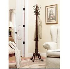 Standing Coat Rack Stand Free 4 Hooks Tree Hanging Entryway Hanger Wood Brown
