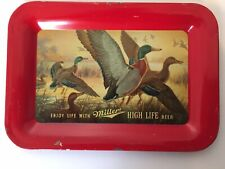 Vintage 1950s Ducks Miller High Life Beer Tin Litho Advertising Tip Tray.