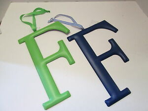 """Initial Wall Hanger, Letter """"F"""" by Mud Pie, Green or Dark Blue, NEW"""
