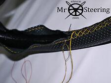VOLANTE in Pelle Perforata Copertura Per FIAT 500 57-75 Giallo doppia cucitura
