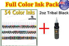54 Color + 2oz 60 ml Tribal Black Full Pack Tattoo Ink Dragon Hawk  OZ stock