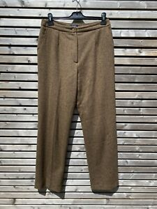 Vintage Boden Brown 100% Lambswool Tweed Trousers Label 14 L / Fit 12 L VGC
