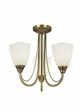 Endon Haughton ceiling light 3x 60W Antique brass effect plate & opal glass
