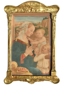 Orig. Watercolor Pntg: Lippi's Madonna - Art Nouveau Antique - Carved Gilt Frame