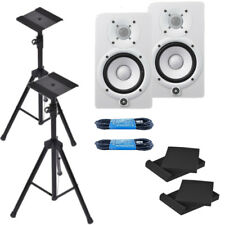 Yamaha HS5 White Powered Studio Monitor Bundle W/ XLR Cables, Pads, Stands *New*