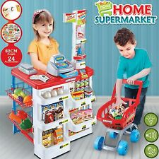 Kids Supermarket Food Pretend Play Set Cash Shopping Trolley Toys