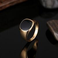 Men Ring Titanium Stainless Steel Ring 18K Gold Plated Vintage Ring Qualityt G8C