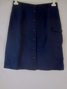 The Look Randolph Duke Silk Blend Navy Blue Button Lined Skirt Women's 12 - J404
