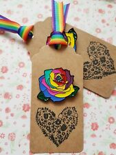 1 x Gorgeous Rainbow Rose Enamel Pin Badge Gift Sister Friend Mum Aunty