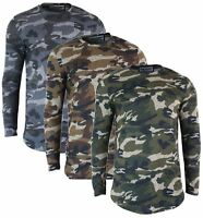 Mens Long Line Top Full Sleeve Tailored Fit Light Jumper Smart Casual Camouflage