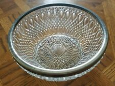 Vintage English Cut Crystal Silver Rimmed Bowl