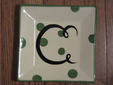 "*NEW* GAIL PITTMAN POTTERY MONOGRAM GREEN DOT LETTER ""C"" SQUARE SALAD PLATE"