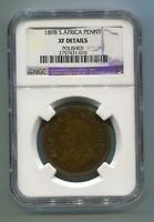 South Africa Zar NGC Graded 1898 Kruger Penny Xf Detail