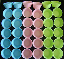 NEW SET OF 36 SILICONE CUPCAKE BAKING MOULDS ASSORTED COLOURS. BLUE GREEN & PINK
