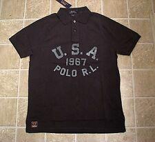 Men's $110 (XLT-Tall) POLO-RALPH LAUREN Black USA Mesh Polo Shirt