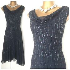 JMD NEW YORK VINTAGE GATSBY DRESS SIZE 12 Cruise Navy Lace Party Embellished