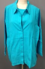 D AND CO DENIM AND COMPANY NWT 2 Pc Blue Cami Button Top Twinset Sz 1X EE6667