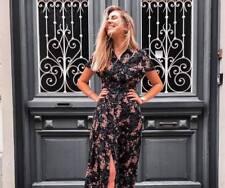 Zara SS18 Black Floral Print Long Maxi Button Shirt Dress XS Extra Small BNWT