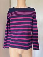 Joules Jumper Ladies Womens Size 12 Blue Pink Stripe Sweatshirt Tshirt Top
