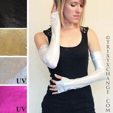 Silver Metallic Fingerless Gloves Costume Arm Warmers Cyber Goth Vinyl PVC Latex
