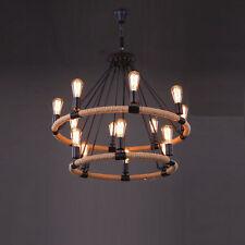 2 Tier Industrielle Grande Corde Cercle 14 bras de lumière lustre