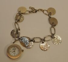 Gruen Watch Wristwatch Bracelet Gold Charm Hammered Dress Casual Women's Jewelry