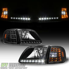 Blk 1997 2003 Ford F150 Expedition Headlights W Drl Led Corner Signal Headlamps Fits 2000 F 150