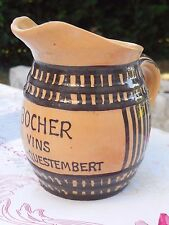 Vintage FRENCH terracotta PITCHER w. relief handmade ENAMELED Advertising / WINE