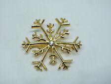 "Beautiful Brooch Pin Snowflake Holiday Pin Gold Tone Clear Rhinestone 1 5/8"""