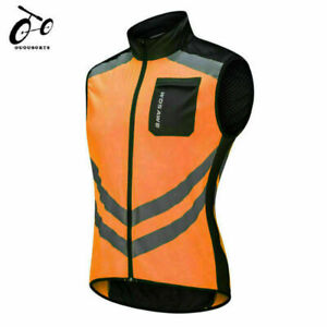 Mens Waterproof Cycling Vest High Visibility Reflective Vest Bike Bicycle Jersey