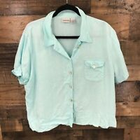 Chicos Women's Light Blue 100% Linen Short Sleeve Boxy Button Front Top