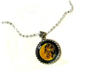 HUGE YELLOW FULL MOON RISING BEHIND A TREE PENDANT NECKLACE HANDMADE ALTERED ART