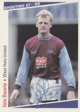 IAIN DOWIE HAND SIGNED WEST HAM UNITED MERLIN SHOOTING STARS 91/92 CARD.