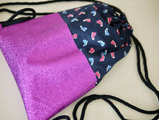 Handmade Backpack, Glitter & Fabric, Gym Bag, Bag, Glitzer-Rucksack Shoes