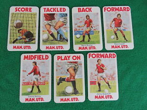 Manchester United cards x 7 from a 1970s card game