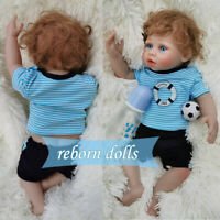 "18"" Realistic Full Body Silicone Vinyl Reborn Baby Dolls Newborn Boys Waterproof"